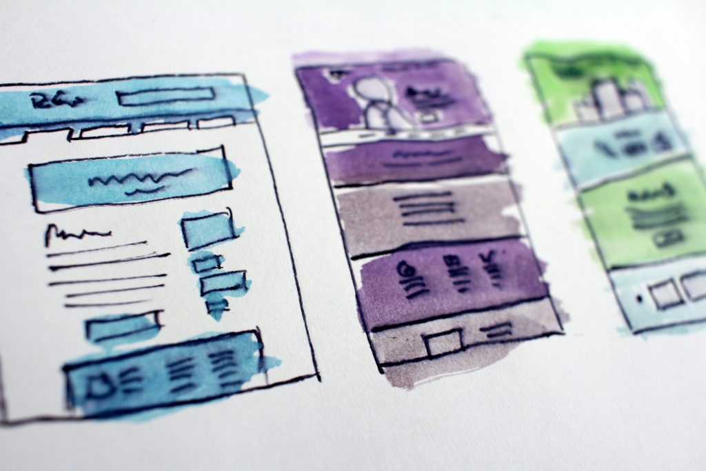 image of hand drawn website wireframe mockups